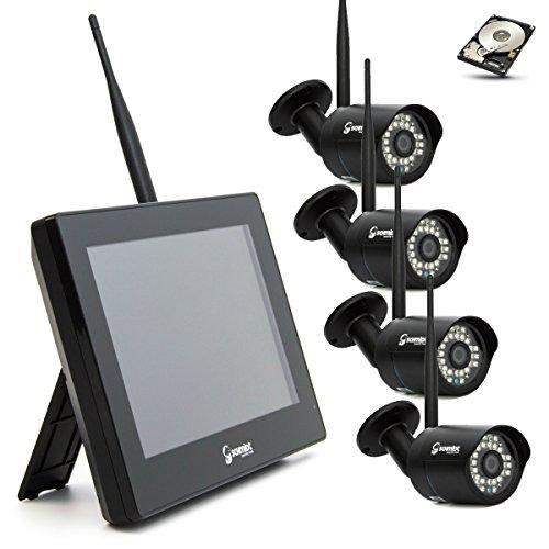 SCHMIDT-Security-Tools Funk-Überwachungssystem 4x Kamera mit 9' Touch-Monitor HD Videoüberwachungsanlage Drahtlos Überwachungsset Sicherheitssystem 2TB HDD Festplatte