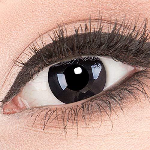 Funnylens 1 Paar farbige schwarze Crazy Fun Black Out Jahres Kontaktlinsen. perfekt zu Halloween, Karneval, Fasching oder Fasnacht mit gratis Kontaktlinsenbehälter ohne Stärke!