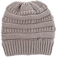 Sombrero de Mujer, Sombrero de Punto de Color sólido, Sombrero Casual de Hombre,Lightgray