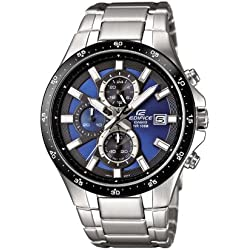 CASIO Men's Quartz Watch with Blue Analogue Display and Silver Stainless Steel Strap EFR-519D-2AVEF