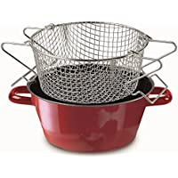 """RIESS kELOmat """"color-classic-email-coupe frites/friteuse poêle avec insert rouge 24 cm"""