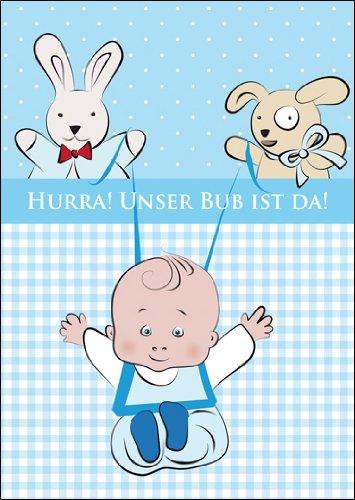 Kartenkaufrausch Im 5er Set: Süße Babykarte (Junge), Glückwunschkarte zur Geburt mit Baby Boy mit Stofftieren: Hurra! Unser Bub ist da!