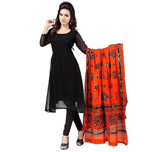 Banjara Women'S Cotton Stoles & Dupattas Kutchi Chakachak (Chk11 _Tangy Orange _Handicraft...