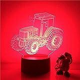 3D Veilleuse 3D Led Veilleuse Grand Pneu Agricole Tracteur Action Figure 7 Couleurs Toucher Illusion Optique Lampe De Table Décoration De La Maison Modèle...