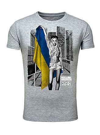 T-Shirt Herren Männer Fan Printshirt Fußball Europameisterschaft 2016 Girl Sexy Ukraine