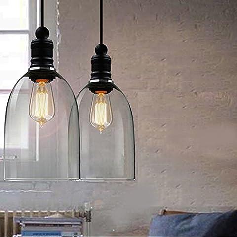 hahaemall intérieur vintage lampe à suspension Mini pendentif lumière Big Bell Abat-jour en verre (Ampoules non