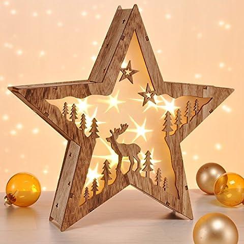 LED-Holzstern mit Motiv und 3D Optik, zum Aufstellen, Batteriebetrieb • LED Holz Stern Deko Leuchtdeko Weihnachts Fenster Wohn Dekoration Beleuchtung