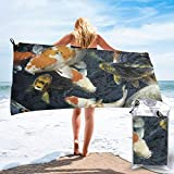 """bikini bag Two Fish Jumping out of Water Painting 4 Bath Swimming Pool Yoga Pilates Picnic Blanket Quick Dry Beach Towels 31.5""""x63"""""""