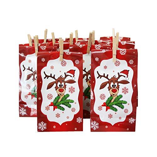 Annastore Adventskalender Didi mit 24 Tüten aus Papier + 24 Mini-Holzklammern + Sticker 1-24 - Geschenktüten Weihnachtsgeschenktüten