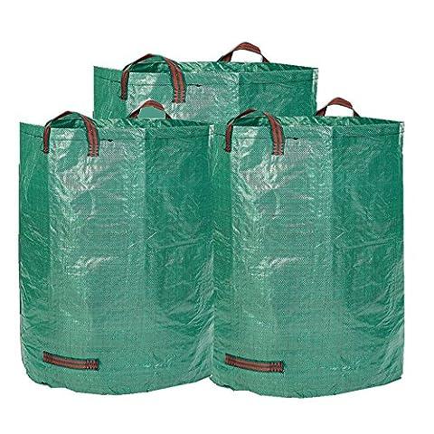Sacs de jardin - Sacs à déchets 3x à dossier pliable et extra-fort 272L - Sacs lourds à déchets lourds et imperméables avec poignées de cravate - T-tags gratuitement (3Bags x 272L)