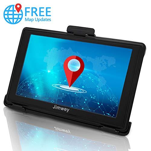 Jimwey GPS Navi Navigation für Auto LKW PKW Navigationsgerät 5 Zoll 8GB 256MB Lebenslang Kostenloses Kartenupdate mit POI Blitzerwarnung Sprachführung Fahrspurassistent Europa UK 50 Karten