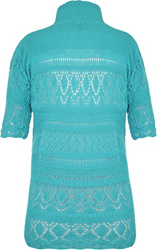 WEARALL Femmes Grande Taille Tricoté Crochet Court Manche Haut Haussement DÉpaules Dames Ouvert Cardigan - Hauts - Femmes - Tailles 42-58 Turquoise
