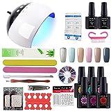 Coscelia 24W Lampada UV LED secca Unghia Kit Smalto Semipermanente Gel Polish decoro unghie Nail Art set-zt