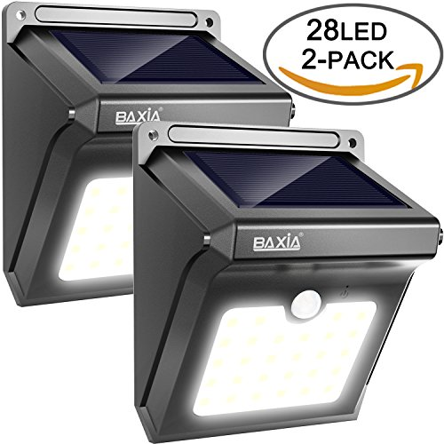BAXiA 28 LED Lumière Solaire, Ampoule de sécurité avec Détecteur de Mouvement solaire sans fil pour l'extérieur, mur extérieur, jardin, terrasse, cour(Lot de 2)