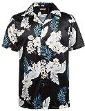 HOTOUCH Herren Hawaiihemd Hawaii-Print Urlaub Hemd Aloha Hemd Strand Kurzarm Hemd Aus Satin Schwarz M