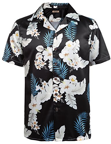 HOTOUCH Herren Hawaiihemd Hawaii-Print Urlaub Hemd Aloha Hemd Strand Kurzarm Hemd Schwarz XL (Schwarzes Hawaii-aloha-shirt)