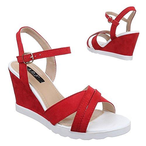 Damen Schuhe, 1411-KL, SANDALETTEN PUMPS KEIL Rot