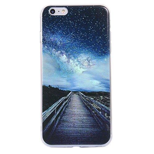 Pour iphone 6 plus Case Cover, Ecoway TPU Soft Silicone motifs peints Housse en silicone Housse de protection Housse pour téléphone portable pour iphone 6 plus - Sunrise Sea Étoiles