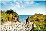Wallario selbstklebendes Poster - Auf dem Sandweg zum Strand in Premiumqualität, Größe: 61 x 91,5 cm (Maxiposter)