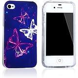 Tinxi® Schutzhülle für Apple iPhone 4G Hülle Silicon Case Silikon Schutz Rückschale Cover Traumschmetterling