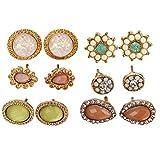6 pares de pendientes de Stud multicolores pendientes de piedras preciosas antiguas joyas surtidas para las mujeres