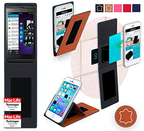 lackBerry Z10 Tasche Cover Case Bumper | Braun Leder | Testsieger ()