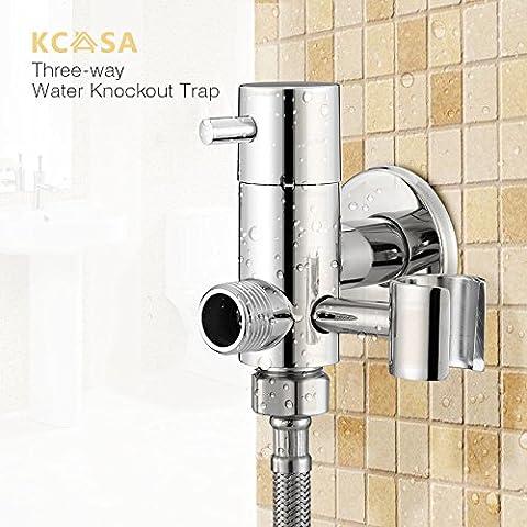 Paleo KCASA™ trampa de agua de latón nocaut tres vías aerosol baño grifo de agua ángulo de la válvula de ducha