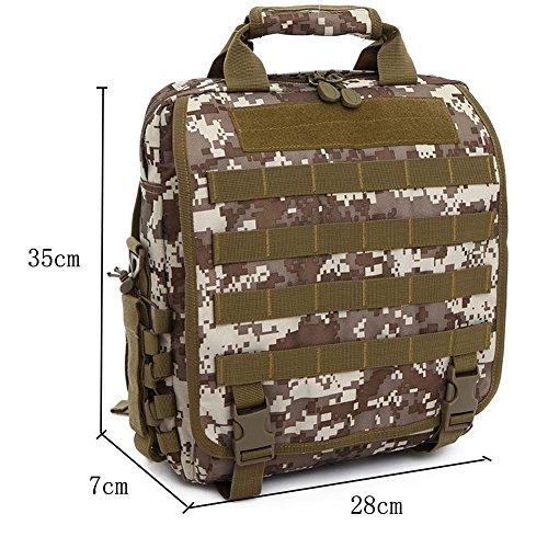 aiyuda Herren Utility Camouflage EDC Military Assault MOLLE TACTICAL Rucksack Tasche für Laptop Kompaktes Polizei-Set Organizer Messenger Mehrfarbig - Nomad Desert Camo