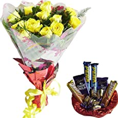 NICE COMBO - 12 Yellow Roses Hand Bunch with Assorted Chocolate