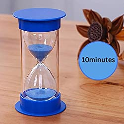 Sand Timer with Protective Covering, AblueA 10 Minutes Plastic Sand Clock Timing Hourglass (Blue Caps and Blue Sand)