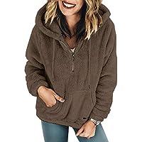 Hanomes Damen pullover, Damen Plüsch Herbst Winter Langarm Reine Farbe Mode Mantel Tasche Langen Mantel preisvergleich bei billige-tabletten.eu