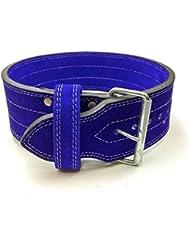 Individual Prong cinturón de pesas 10mm Levantamiento de Peso, azul, large