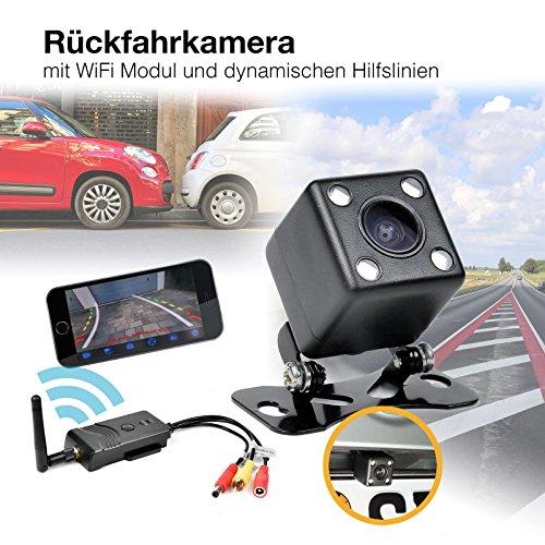 HaWoTEC Auto Wifi W-LAN Funk Rückfahrsystem Rückfahrkamera mit Nachtsicht LED\'s Kabellos 170° Weitwinkel mit Smartphone App für iPhone iPad Android 12V 24V mit dynamischen Hilfslinien