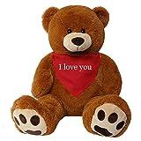 XXL Teddybär mit Herz, braun 130cm