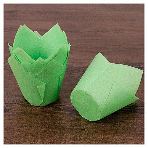 Rameng - 50 Muffin-Tulpenförmchen aus gefaltetem Papier, Backformen für Cupcakes und Muffins. grün