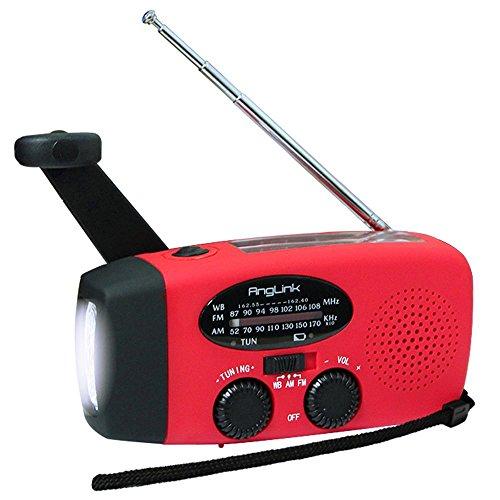 [2 Jahre Garantie] Solar Radio,AngLink AM/FM/NOAA Kurbelradio Wiederaufladbare Dynamo Radio Wasserdicht LED Dynamo Lampe Powerbank für Wandern, Camping, Ourdoor, Notfall(Rot)