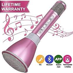 Micrófono Inalámbrico Bluetooth, Micrófono Karaoke Portátil con Altavoz Incorporado para KTV, Micrófono Wireless Bluetooth Compatibile con PC / iPad / iPhone/ Smartphone (Rosa)