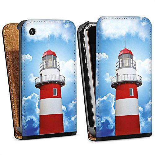 Apple iPhone 5s Housse Étui Protection Coque Phare Ciel Nuages Sac Downflip noir