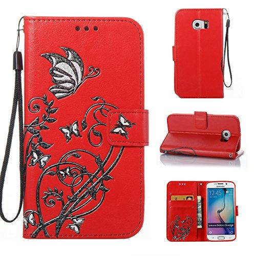 """Cozy Hut Samsung S6 Edge/Galaxy G9250 Hülle Case, LederHülle Leder Tasche Case Cover für Samsung S6 Edge/Galaxy G9250 5,1\"""" Zoll Hülle PU Schutz Etui Schale Red Narcissus Schmetterling Must"""
