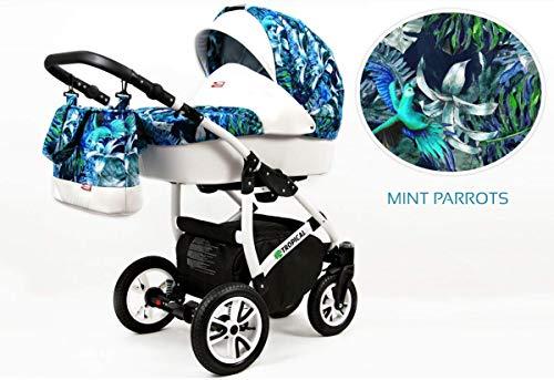 Kinderwagen Tropical, 3 in 1 - Set Wanne Buggy Babyschale Autositz Mint Parrots