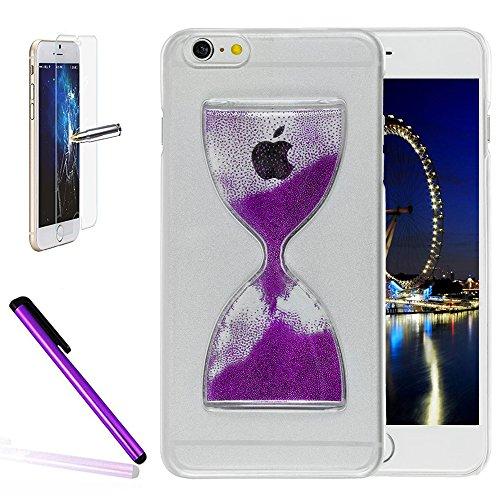 iPhone 6Plus/6S Plus 14cm liquide brillant paillettes Bling cas, newstars Design Double Couche dynamique Fluide flottant Quicksand Coque pour iPhone 6Plus/6S Plus, 3D Design Créatif en plastique tr Hourglass Purple
