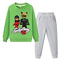 BSHDUFN Miraculous Ladybug Sweatshirt Kids Classic Set-in Printed Sweatshirt+Cotton Trousers Elasticated Waist Pants Suit Miraculous Ladybug Pullover (Color : Green, Size : 100)