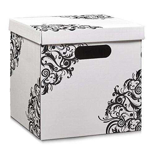 Zeller 17526–Caja con asas, cartón, blanco floral, 33,5x 33x 32cm