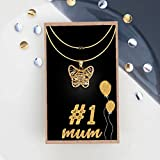 #9: TiedRibbons Mother's day special Gift for mom from daughter Butterfly Pendant Necklace With Long Chain And Mother's day special Greeting Card