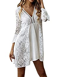 718a3229af8 TOOGOO White Lace Dress Women Floral Hollow V Neck Flare Sleeve Dress Short  Mini Party Dress