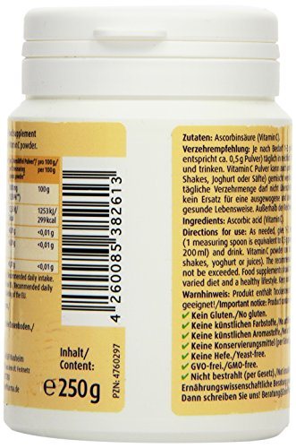 51 V3isLH6L - ZeinPharma Vitamina C Mono Polvo, 1er Pack (1 x 250 g)