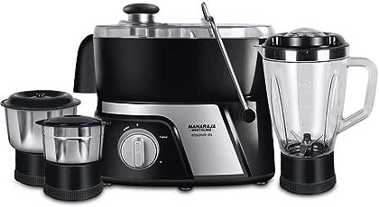 Maharaja Whiteline JMG EasyLock DLX 550-Watt Juicer Mixer Grinder (Premium Black and Silver)
