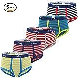 Gorboig Jungs 5-Pack Slips süß Print - Kinder - unterwäsche (3 / 4y, Streifen)