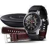 Samsung Galaxy Watch 46mm Bundle, silber + Charger und Lederarmband [Exklusiv bei Amazon]