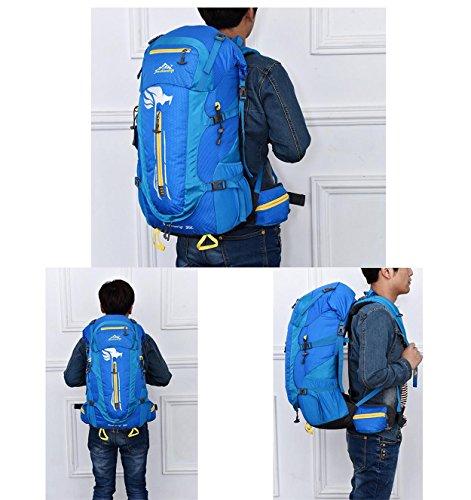 Wasserdichte Reise Rucksack 50L Outdoor Multifunktion großen Oxford Rucksack für Wanderungen Klettern Bergsteigen Pack Tasche abnehmbare tragenden Daypack H32 x L63 x T20 cm Blue
